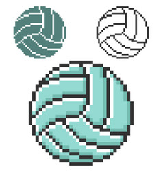 Pixel icon volleyball in three variants fully vector
