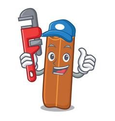 Plumber cinnamon mascot cartoon style vector