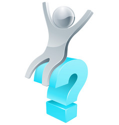 question mark silver person vector image