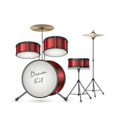 Realistic drum kit percussion instruments vector