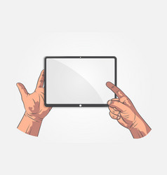 realistic sketch hands hand hold tablet vector image