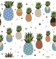 retro pineapple fruit seamless pattern background vector image