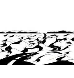 Road through the desert cartoon landscape vector