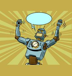 Robot villain in a winning pose technological vector
