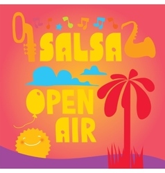 Salsa lettering with silhouettes of palms vector