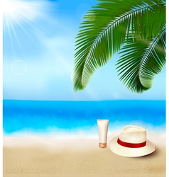 Seaside view with palm leaves vector