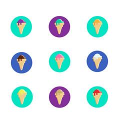 set of ice cream cones icons vector image