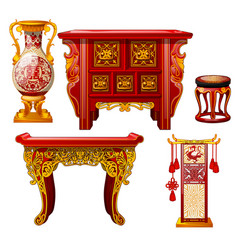 set of ornate furniture in oriental style isolated vector image