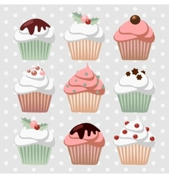 Set various christmas cupcakes muffins vector