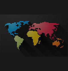simple colorful map of the world created by lines vector image