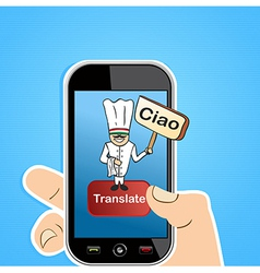 Smart phone translation app concept vector
