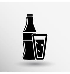 Soda bottle design concept logo sign line vector