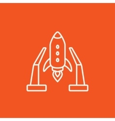 Space shuttle on take-off area line icon vector