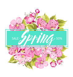 spring background with sakura flowers vector image