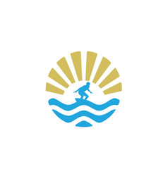 summer surfboard surf wave ocean sun birds logo vector image