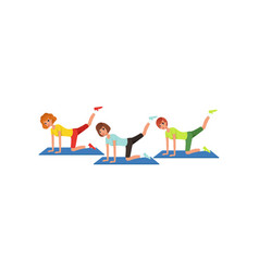 three women doing leg swings workout cartoon vector image