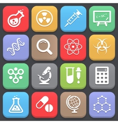 Trendy science icons for web or mobile vector image