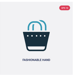 two color fashionable hand bag icon from woman vector image