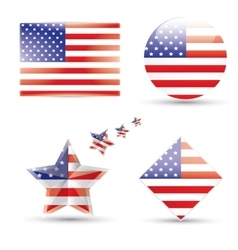 United States Flag Glossy icon vector image
