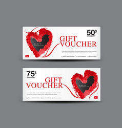 Valentines day gift voucher template layout vector