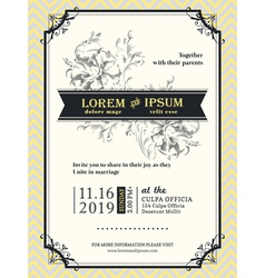 Vintage Wedding invitation frame template vector