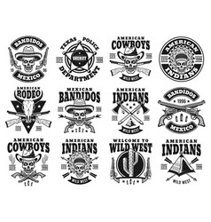 Wild west set of emblems labels badges vector