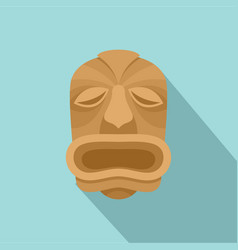 Wood made tiki icon flat style vector