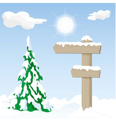 wooden signpost in a winter landscape vector image