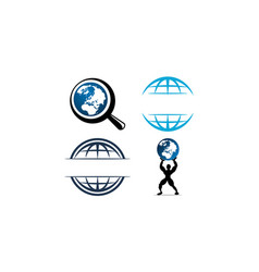 world globe logo design template set vector image
