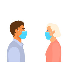 Young man and old woman look at each other in the vector