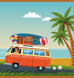Young man driving surf van to the beach vector