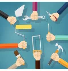 Builders Modern flat background with hand vector image