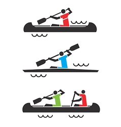 Canoe kayak icons vector image