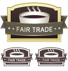 fair trade coffee label vector image vector image