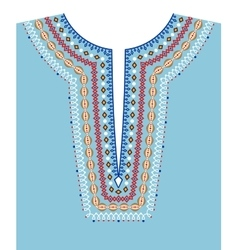 Neck line ethnic embroidery vector