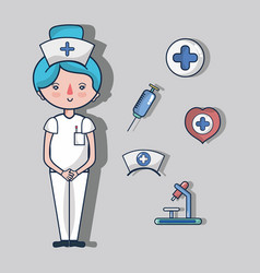 Nurse with first aid kit elements vector