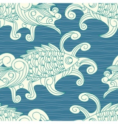 pattern with koi carp vector image