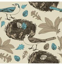 Vintage Birds Pattern vector image