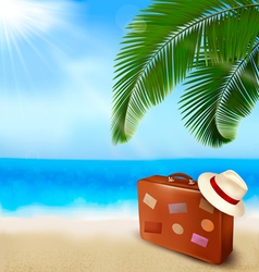background with palm tree travel bag vector image