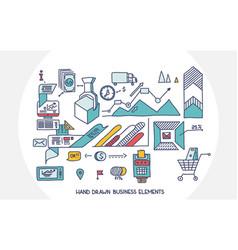 bank business finance analytics earnings hand draw vector image vector image