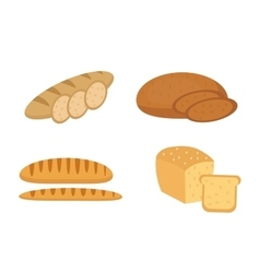 Bread baguette loaf set bakery products vector