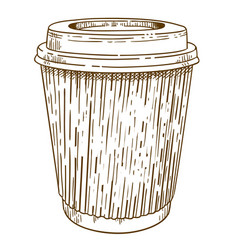 engraving of takeaway cup vector image
