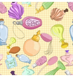 Seamless pattern with cartoon perfume bottles vector image vector image