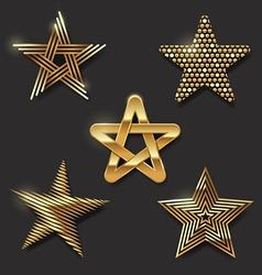 Set of golden decorative stars vector image