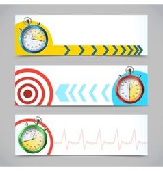 Stopwatch banners horizontal vector image