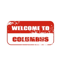 Welcome to Columbus stamp vector image