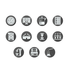 biochemistry gray round icons set vector image vector image