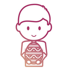 Boy with easter egg vector
