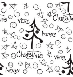christmas decorative doodle seamless vector image vector image