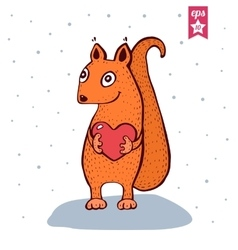 Cute Baby Squirrel with heart in hands vector image